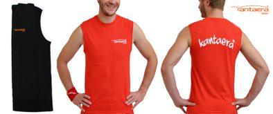 Maennershirt-ohne-aermel-rot und schwarz